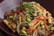 Cold Soba Noodles with Sweet Sesame Tofu
