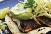 Blackened Tilapia Tacos with Cumin Avocado Sauce