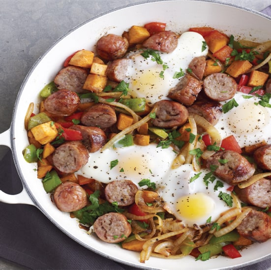 Chicken Sausage and Sweet Potato Hash with Baked Eggs ...