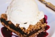 Date Squares With Cranberry Coulis