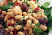 White Bean Salad with Spinach, Olives, and Tomatoes