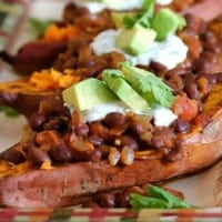 Roasted Sweet Potatoes with Black Bean Chili