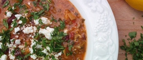Tomato and Bean Soup with lemon, mint and parsley