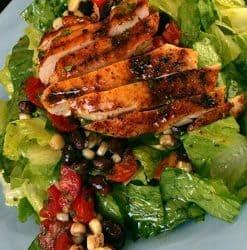 Grilled Chicken Salad with Cherry Tomato Black Bean Salsa