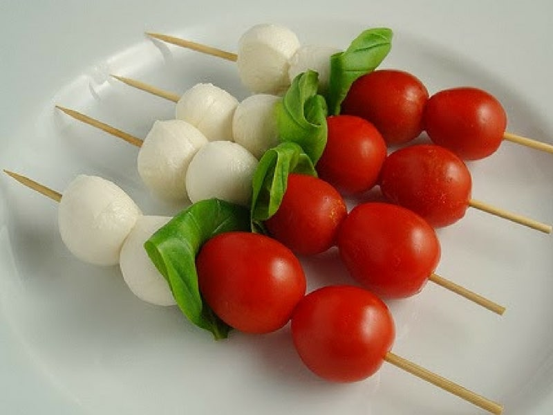 Caprese, tomatoes and basil skewers