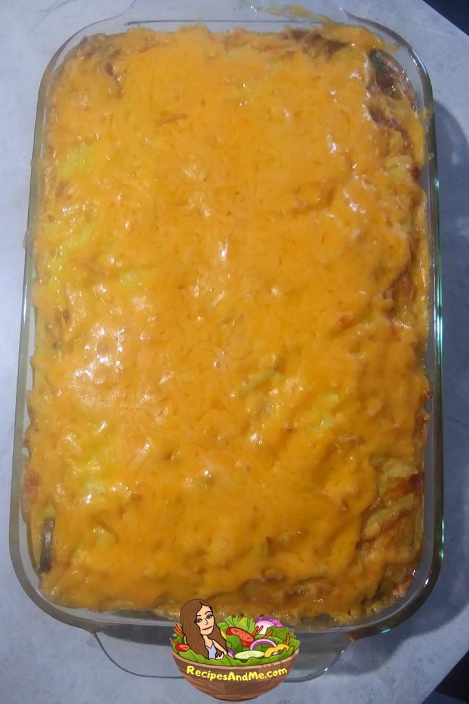 Breakfast sausage casserole with hash browns and avocado. serves 6-12. RecipesAndMe.com