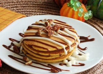 Pumpkin Pancakes with Cinnamon Sauce and Cream Cheese Icing