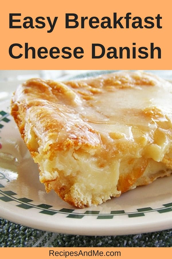 This easy breakfast cheese Danish made with Crescent rolls is simple to make and perfect for every occasion! It's one of my favorite brunch recipes and our family loves it on Christmas morning and on weekends. It comes together really quick: open up your crescent roll dough, add the cream cheese filling, bake and enjoy. #CheeseDanish #Danish #CrescentRolls #CrescentRollsRecipe #Homemade #Breakfast #Desserts #WithPieCrust