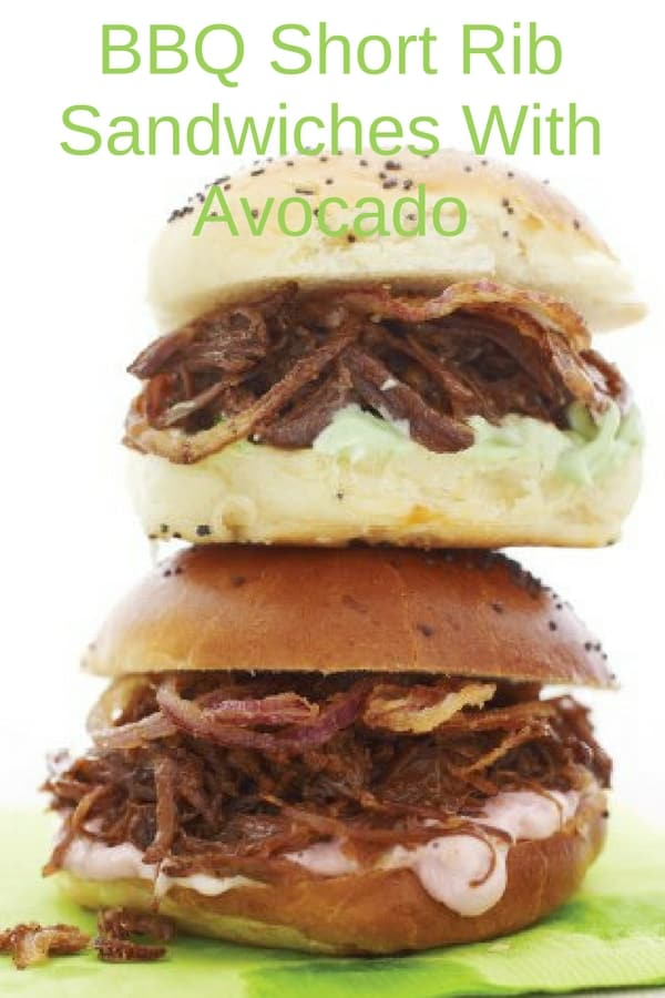 Try these BBQ short rib sandwiches with avocado for your next picnic. Tender beef shreds, topped with crispy onions and avocado and slathered in barbecue sauce makes a delicious sandwich everyone will love! #recipes #BBQ #sandwiches #Dinner #lunch #snack #cooking #simple #mealprep #Easy