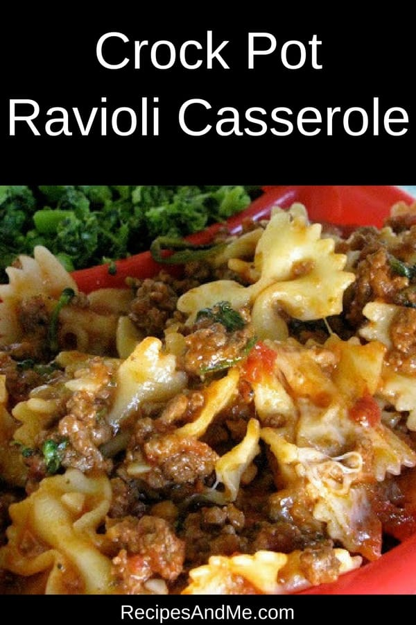 Dinner doesn't get any easier than this: take a few minutes to add your ingredients to the slow cooker and go enjoy your family. Come back a few hours later and you'll have a delicious crock pot ravioli casserole your family will gobble up. It's one of my favorite easy meals and comfort foods. I reach out to this recipe often. #recipes #Healthy #Dinner #lunch #snack #cooking #simple #mealprep #Easy
