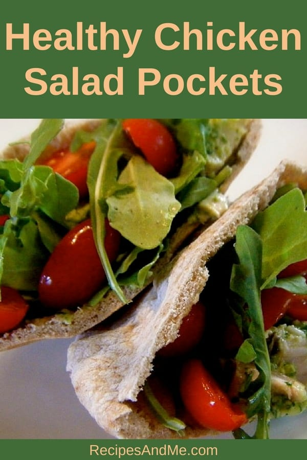 MAKE TO ENJOY ALL WEEK (or weekend)! These healthy chicken salad pockets make great meals for weeknights when you don't have time to cook. #recipes #HealthySandwich #Dinner #lunch  #simpleRecipes #ChickenSaladPitas #ChickenPitas