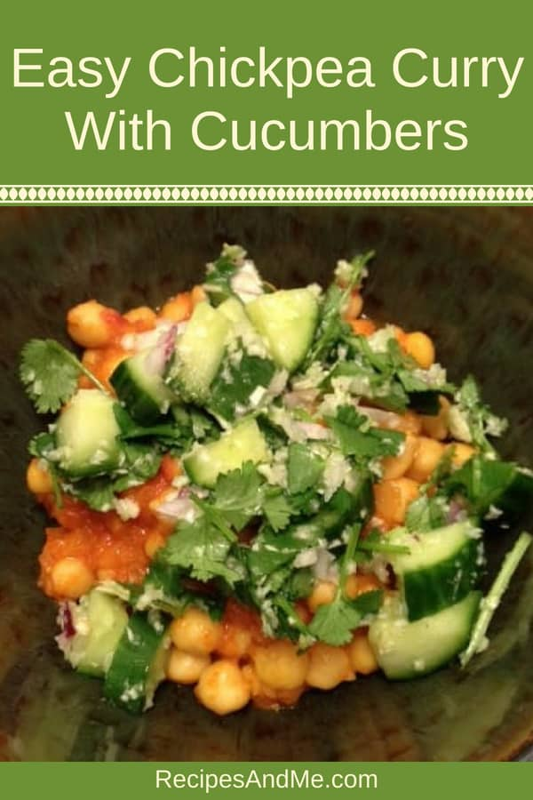 In the mood for some Indian food? Try this simple, vegan, healthy chickpea curry made wish cucumbers: it's a tad spicy, and oh, so tasty. Great for vegetarians and vegans, but loved by meat eating people too. #recipes #Healthy #Dinner #lunch #snack #cooking #simple #mealprep #Easy