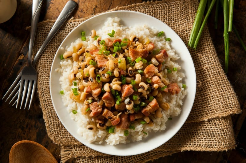 African black eyed peas on rice