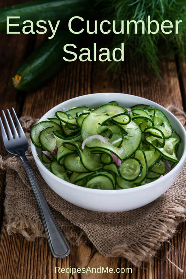 Looking for a simple and healthy summer salad recipe? This easy cucumber salad has only a few ingredients and it's one of the best cuke recipes I've made, and it's vegan, low carb and keto. I used the ribbon blade on my spiralizer, and made a dressing with dill, olive oil and apple cider vinegar. Soo good!!! #recipes #Healthy #Dinner #lunch #snack #cooking #simple #mealprep #Easy