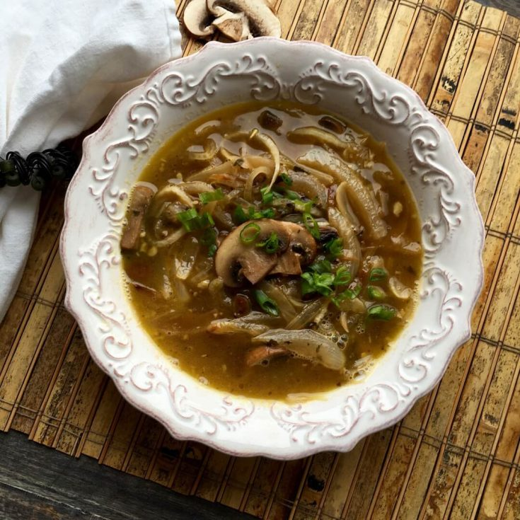 Daikon Noodle Soup  with Caramelized Onions & Baby Portobello Mushrooms