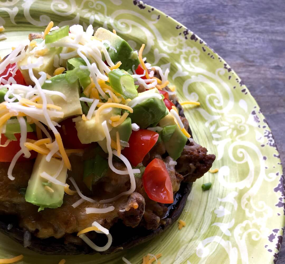 Taco stuffed portobello mushroom caps-stuffed mushroom, Mexican mushrooms, RecipesAndMe.com