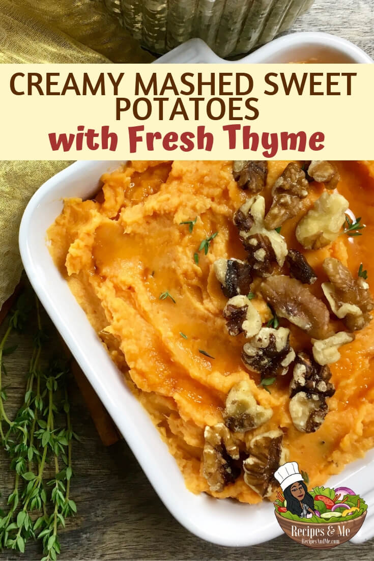 These rich and creamy mashed sweet potatoes are the perfect side dish for just about any holiday meal. #Thyme #FreshThyme #RecipeForSweetPotato #RecipeWithSweetPotato #SweetPotato #SweetPotatoRecipe #SweetPotatoes #SweetPotatoesCasserole #SweetPotatoCasserole #SweetPotatoesRecipe #Recipes #Holiday #Christmas #Thanksgiving #Dinner #Easy #MainDishes #Dinner #HealthyFood