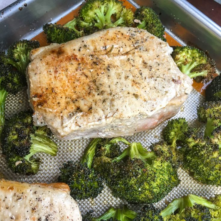 Thick-Cut Boneless Pork Chops with Garlic Broccoli