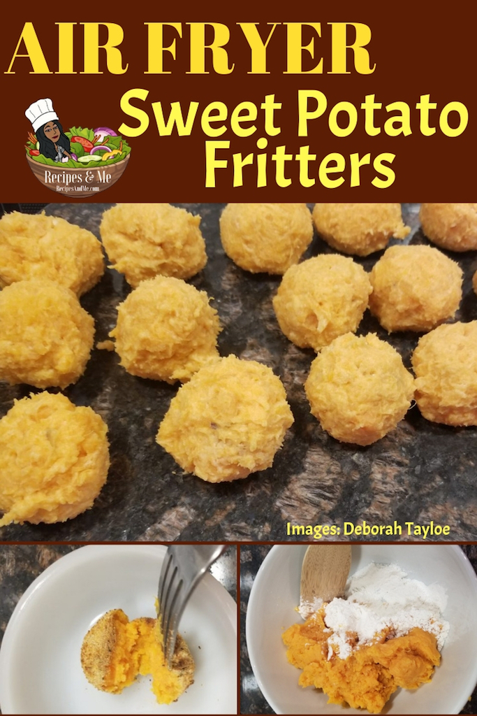 When life gives you lots of leftover mashed sweet potatoes, what do you do? Make air fryer Sweet Potato Fritters!  #SweetPotato #SweetPotatoes #SweetPotatoRecipe #Mashed #HealthyFoodRecipes #AirFryer #Recipes