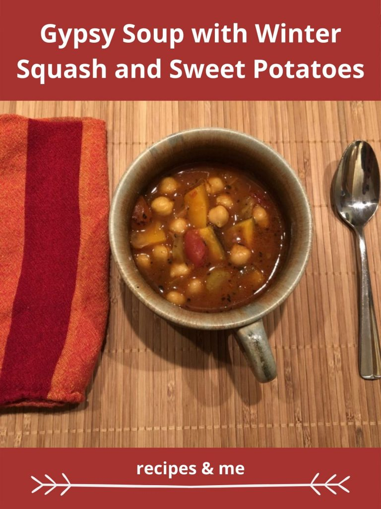 This warming and hearty Gypsy Soup recipe with delicious winter squash and sweet potatoes will warm and delight, especially on fall and winter days. #SoupRecipes #SweetPotatoes #SweetPotatoRecipe #Soup #InstantPot #Pumpkin #Vegetarian #Vegetables