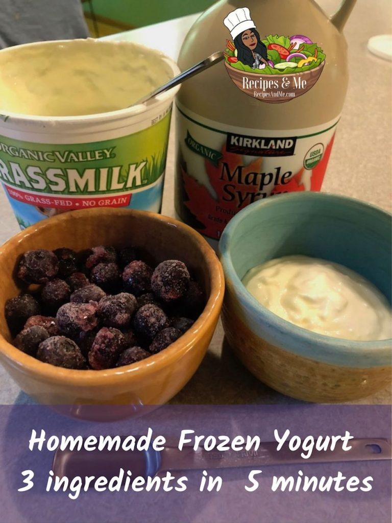 Homemade Frozen Yogurt With Berries - 3 ingredients, 5 minutes for an instant frozen yogurt snack. #HomemadeFrozenYogurt #HealthySummerSnacks #EasyFrozenTreats #BlueberryDessert #Blueberries