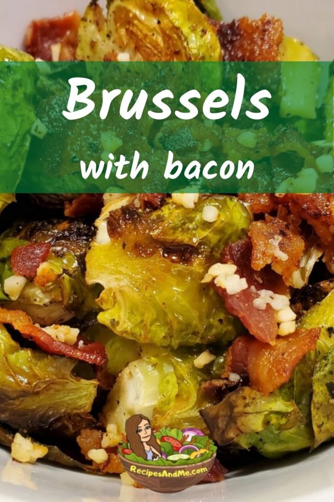 40 minutes · Vegan Gluten free Paleo · Serves 4 · Roasted vegetables are the BEST and roasted Brussels sprouts are our FAVORITE WAY to enjoy cook Brussels. Add to that bacon or balsamic vinegar... and it gets even better. #RoastedVeggies #RoastedVegetables #RoastedBrusselsWithBacon #BestWayToCookBrussels #RecipesAndMe #HowToCookBrusselsSprouts #BrusselsSproutsRecipe