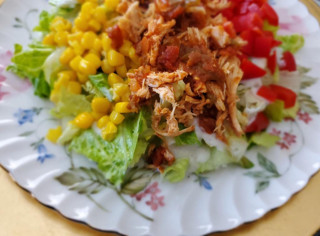 salsa chicken over salad