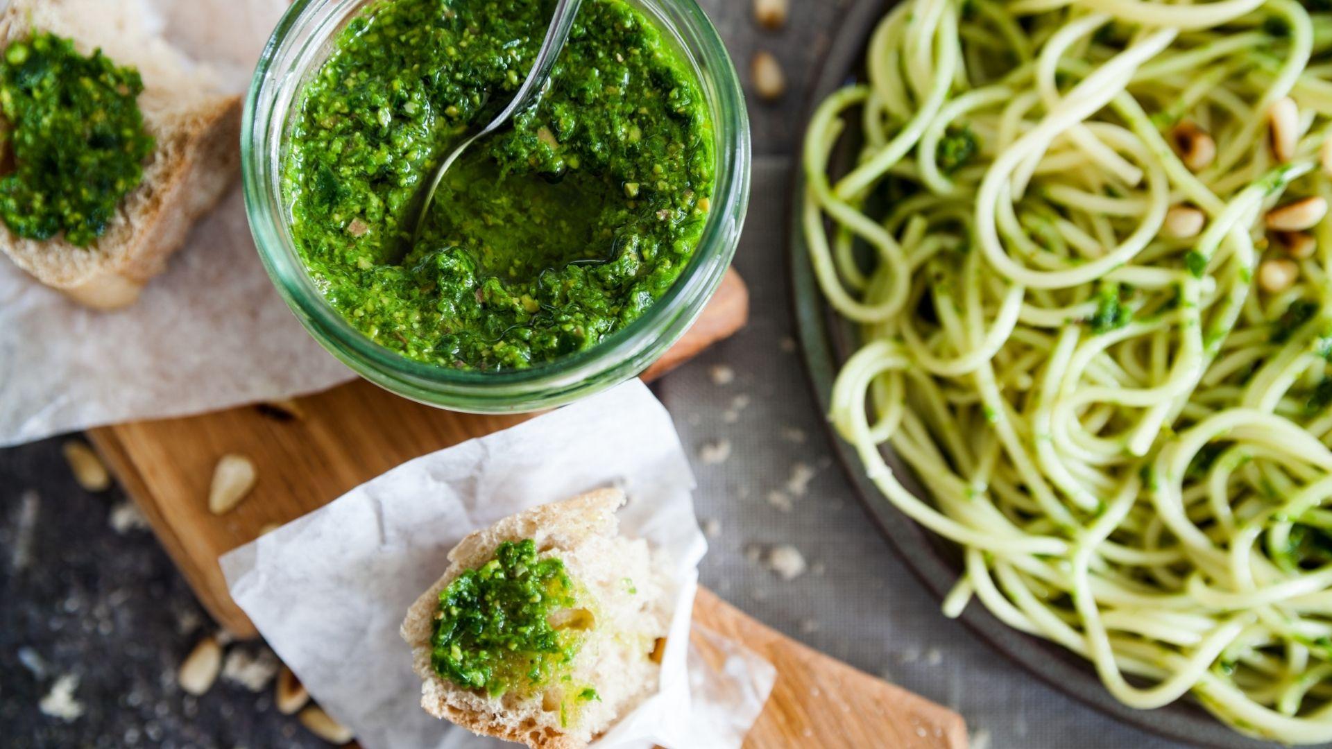 Pesto on bread with noodles-RecipesAndMe.com