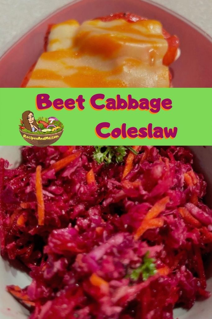 Beet Red & green cabbage coleslaw with carrots & parsley - Image by RecipesAndMe.com