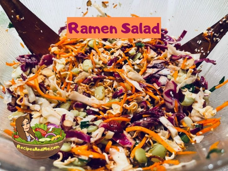 Quickest and easiest-super simple ramen salad-cabbage-RecipesAndMe.com