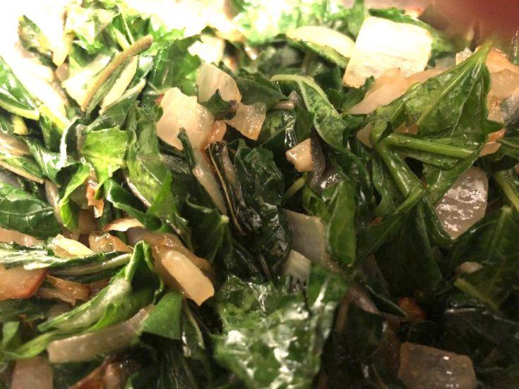 Sauteed Okra Greens With Chili Pepper (optional)